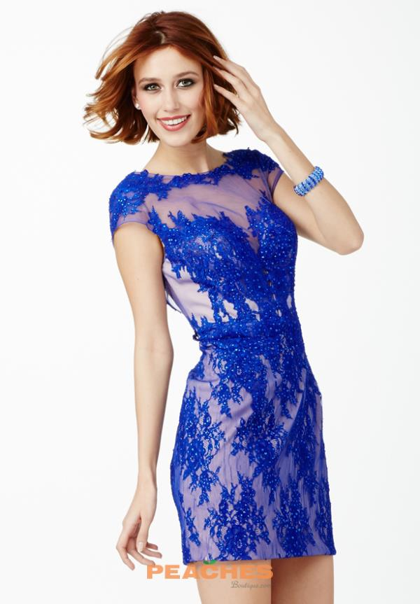 Cap Sleeved Lace JVN by Jovani Dress JVN28400