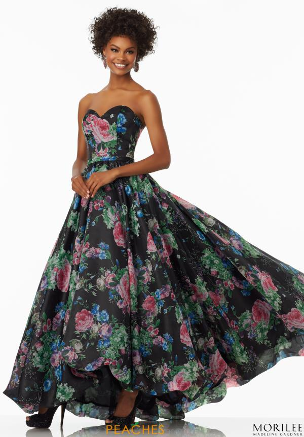 Mori Lee Long Plus Floral Dress 99001