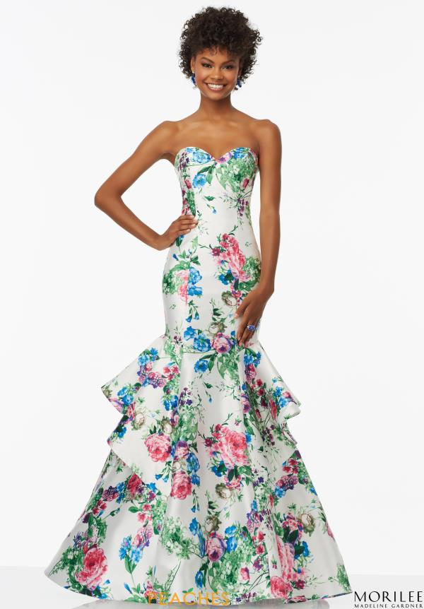 Strapless Print Mori Lee Dress 99004