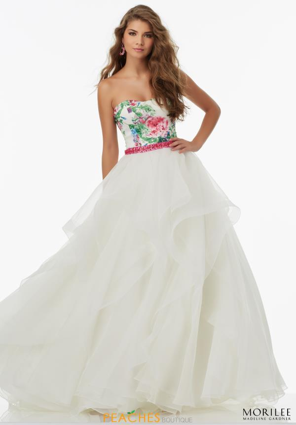 Mori Lee Strapless Floral Dress 99006