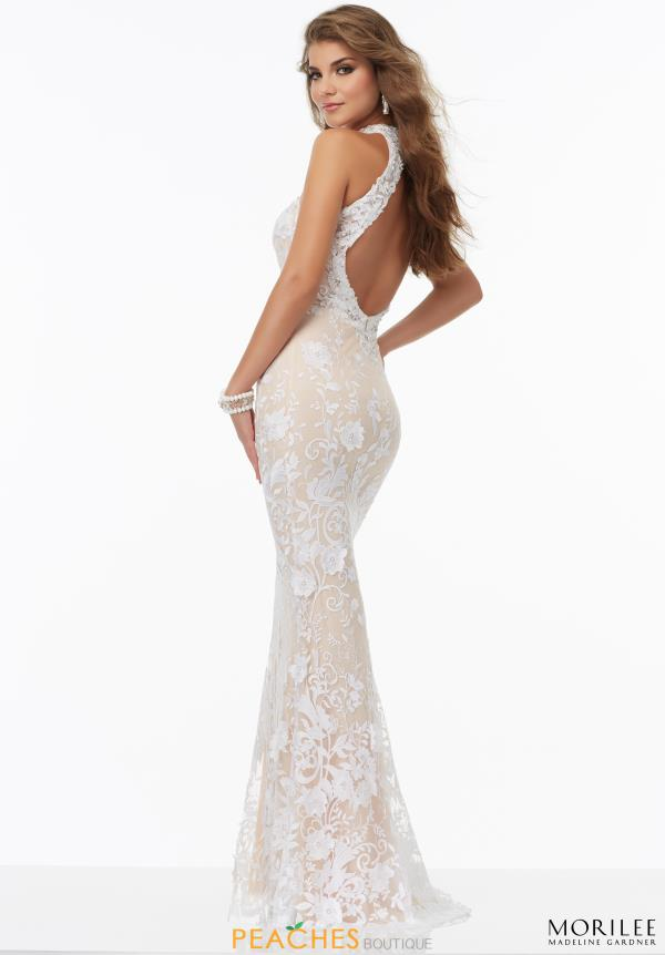Mori Lee Lace White Fitted Dress 99009