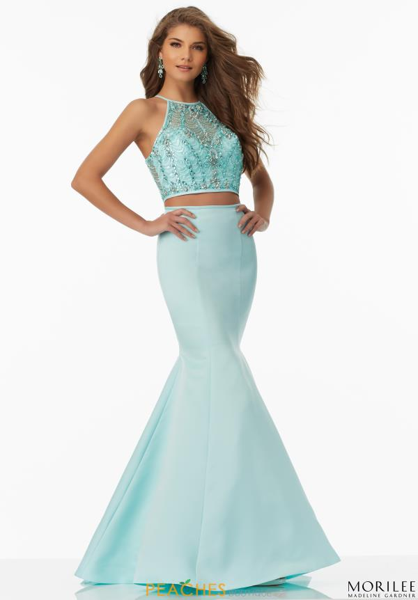 Mori Lee High Neckline Beaded Dress 99043