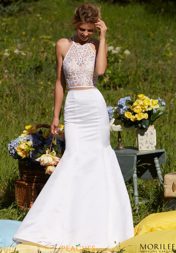 Beaded White Two Piece MoriLee Dress 99069