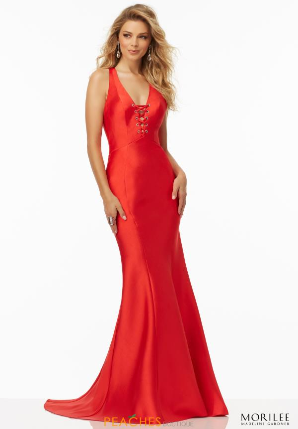 Mori Lee V- Neckline Satin Dress 99076
