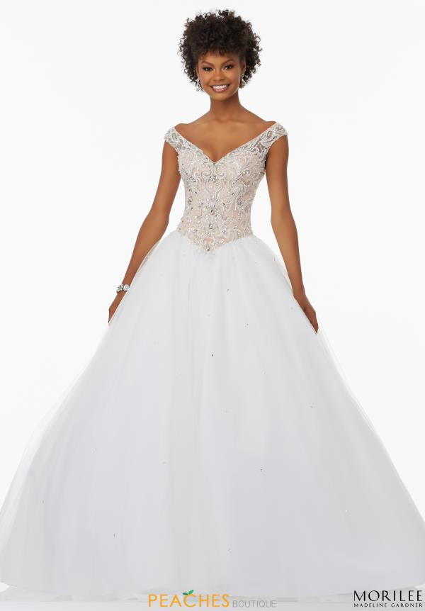 Mori Lee Tulle White Skirt Ball Gown 99078