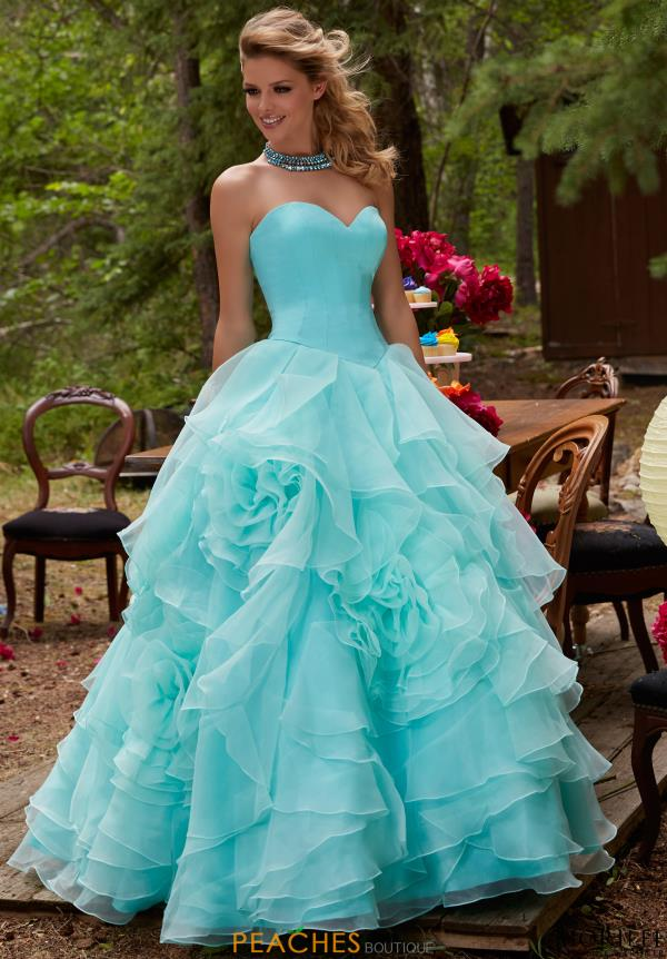Mori Lee A Line Organza Dress 99121