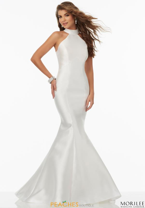 MoriLee Satin White Long Dress 99145