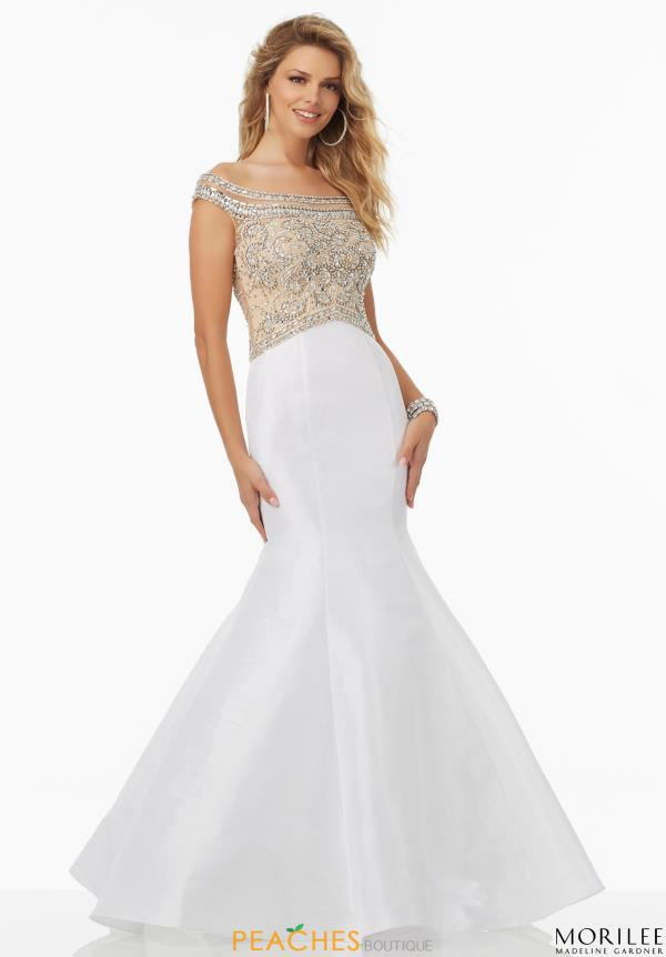 Cap Sleeved White Beaded Mori Lee Dress 99158