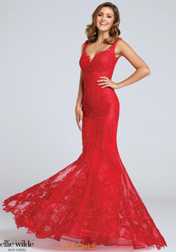 Ellie Wilde Red Fitted Dress EW117046