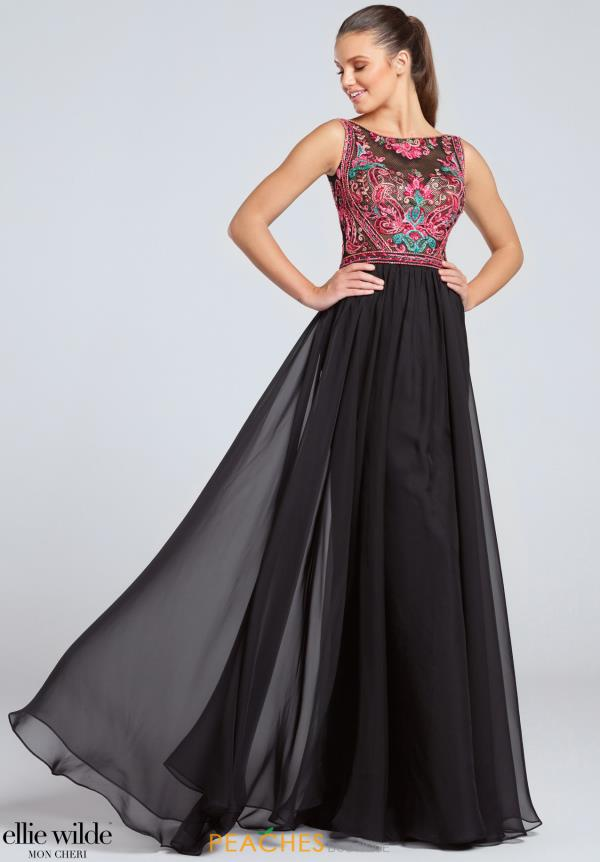 Long Black Ellie Wilde Dress EW117053