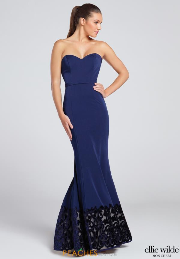 Ellie Wilde Fitted Navy Dress EW117085