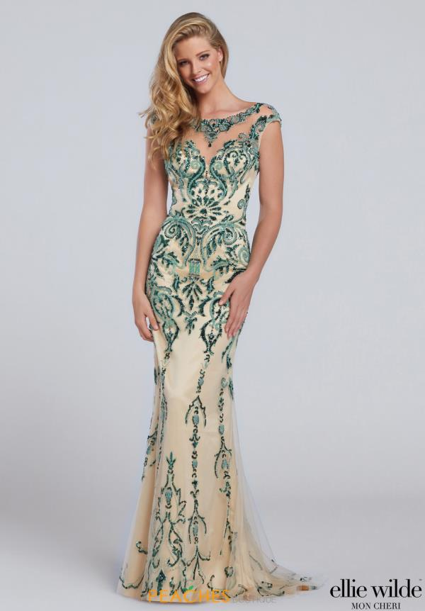 Long Beaded Ellie Wilde Dress EW117132