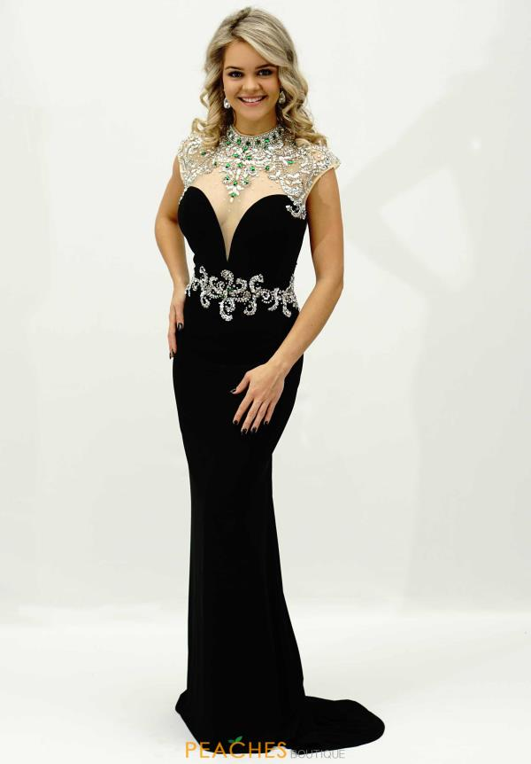 Alyce Paris Sleeved Jersey Prom Dress 6393