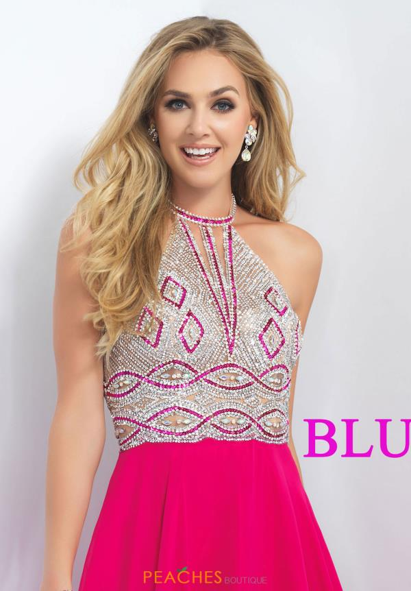 Blush Beaded High Neckline Dress 11186