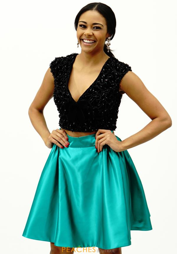 Sleeved Two Piece Sherri Hill Short Dress 50723