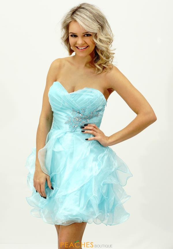 Alyce Short Aqua Ruffled Skirt Dress 3545