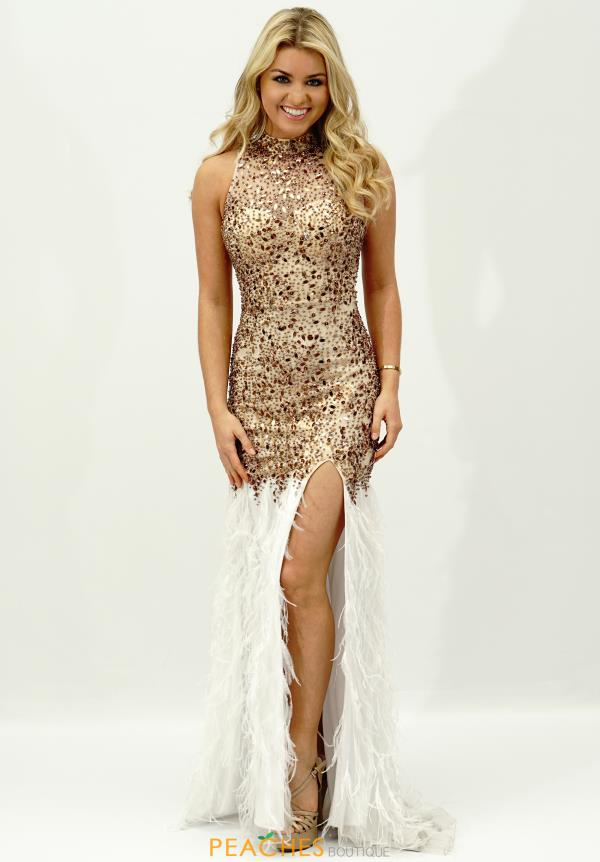 Jasz Couture Feather Skirt Prom Dress 5345