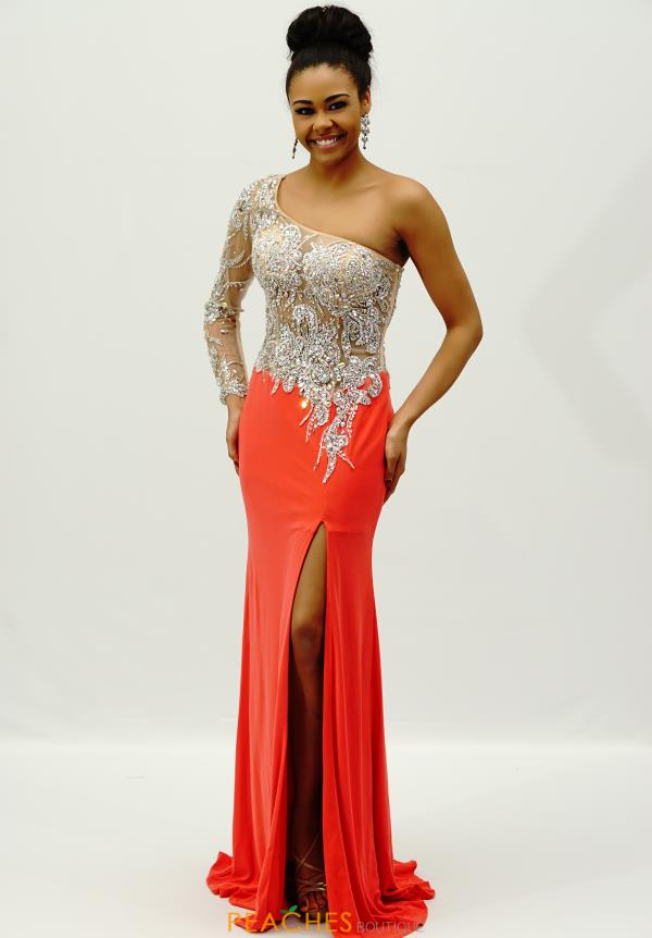 Jovani One Sleeved Beaded Dress 93573
