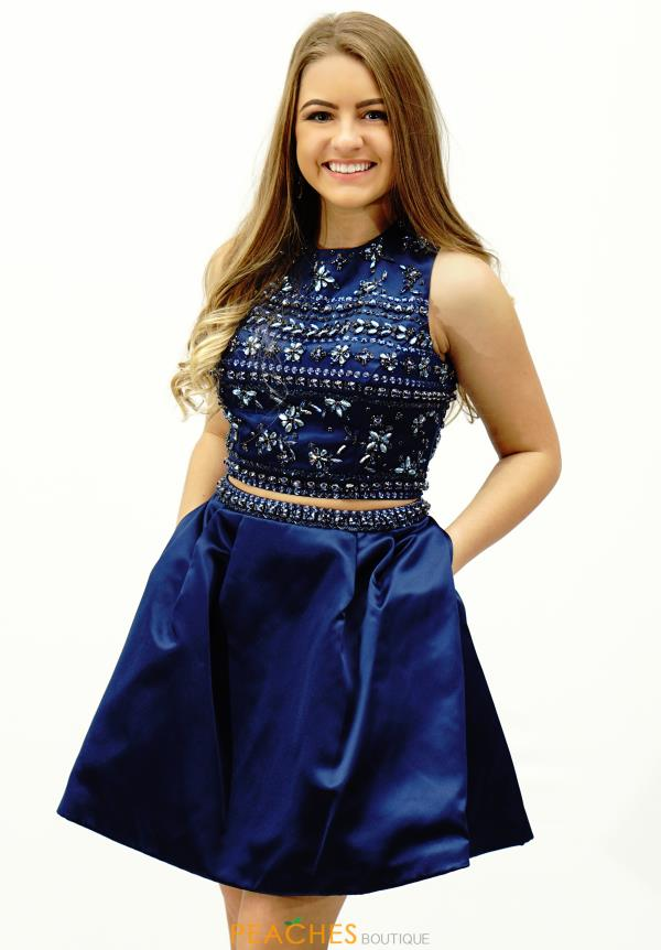 Navy Two Piece Sherri Hill Short Dress 32269