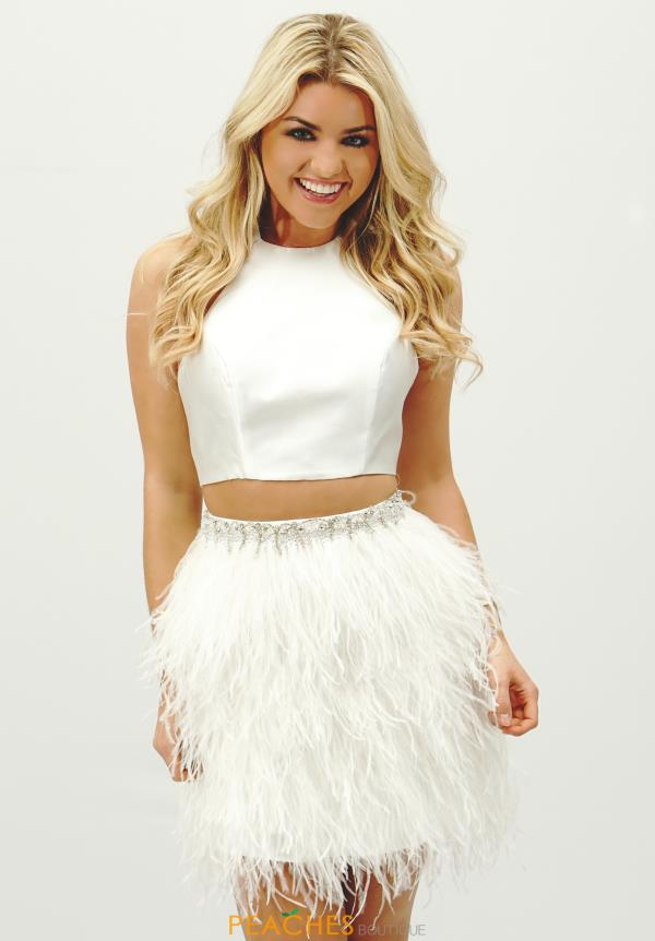 Sherri Hill Short Feathered Skirt Dress 51043