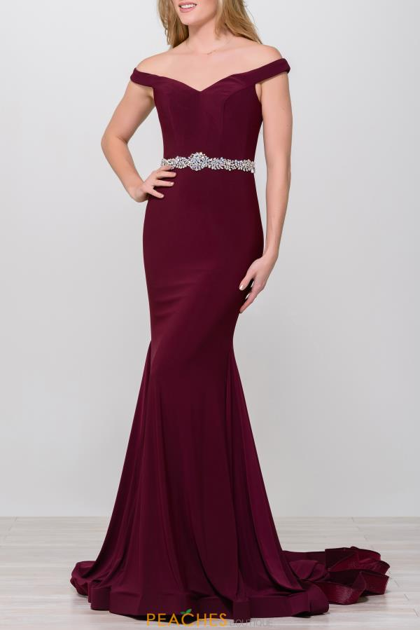 Jovani Long Cap Sleeve Dress 49254