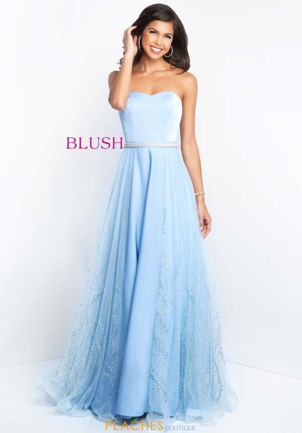 Blush Strapless A Line Dress 11515