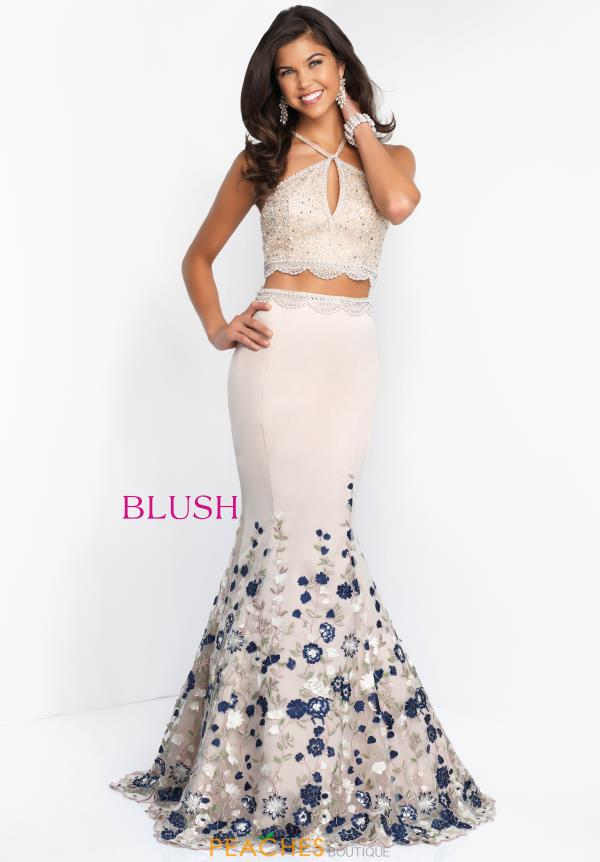 Blush Beaded Long Dress 11521