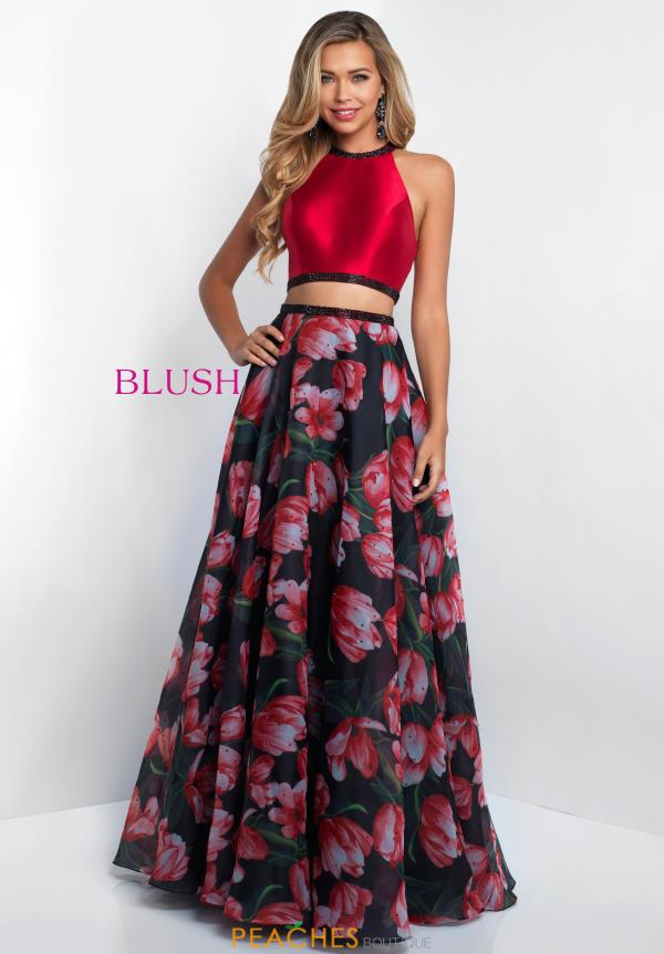 Blush Long Print Dress 11534