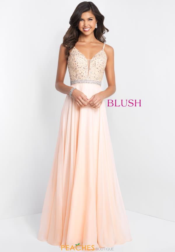 Blush Beaded Long Dress 11537