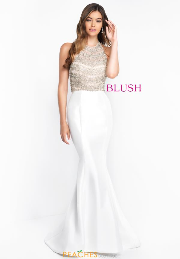 Blush High Neckline Beaded Dress C1011