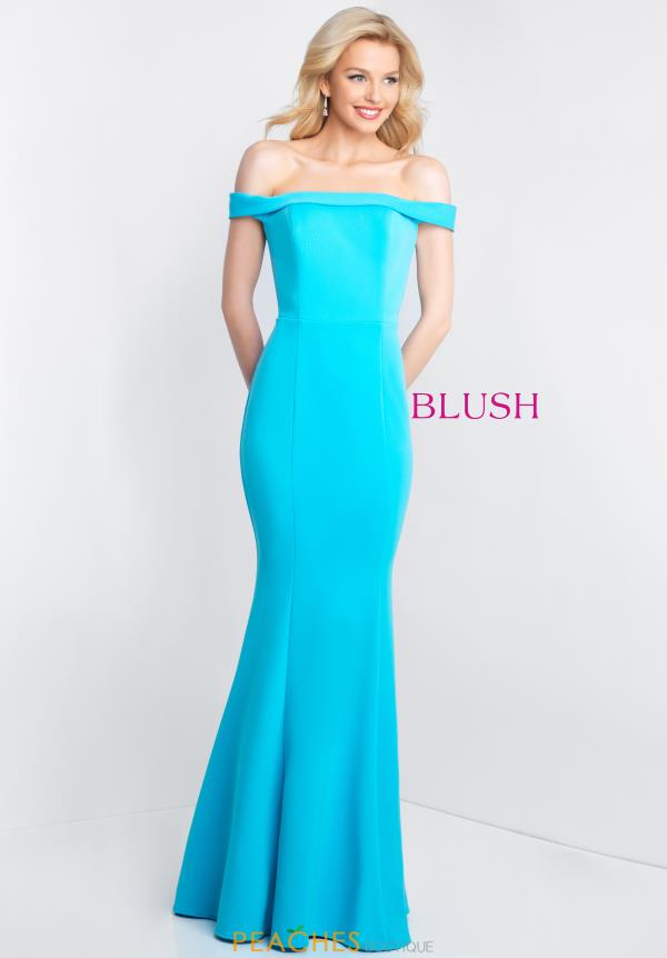 Blush Fitted Long Dress C1026