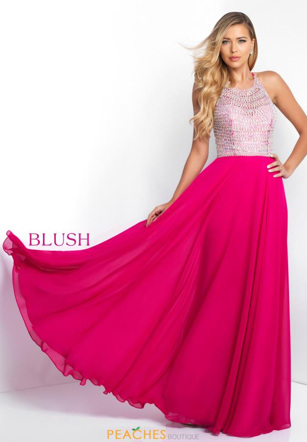 Blush High Neckline Beaded Dress C1035
