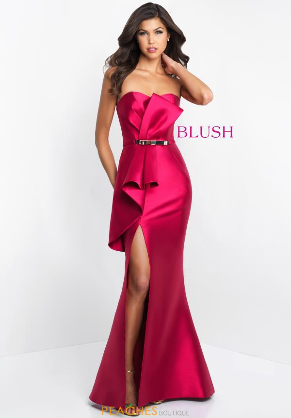 Blush Fitted Long Dress C1045