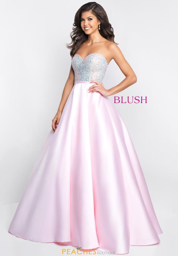 Blush Strapless A Line Dress C1073