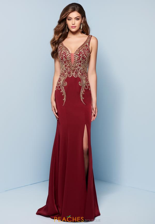 Splash V- Neckline Beaded Dress J752