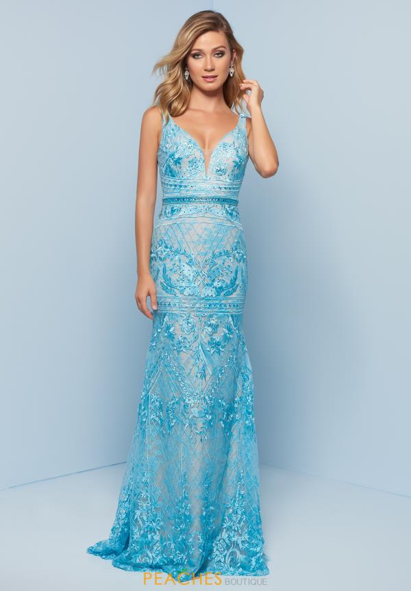 Splash Long Beaded Dress J794