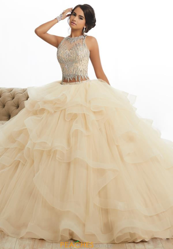 two piece champagne quince dress