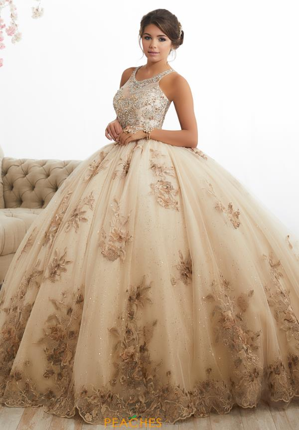 rose gold champagne quinceanera dresses
