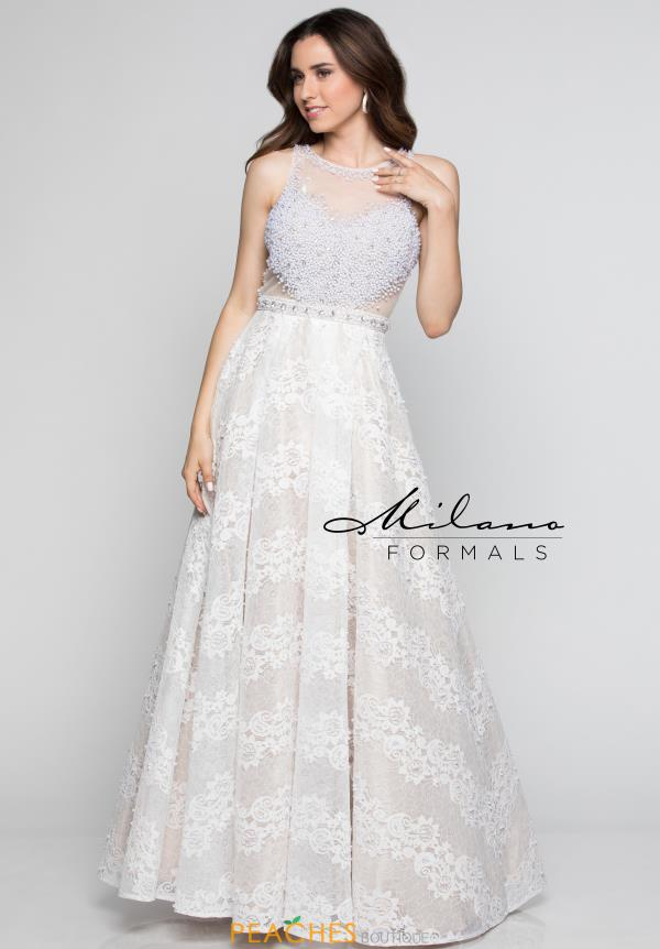 Milano Formals Long Ivory Dress E2379