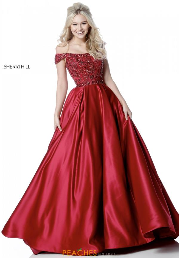 Sherri Hill Off the Shoulder Long Dress 51610
