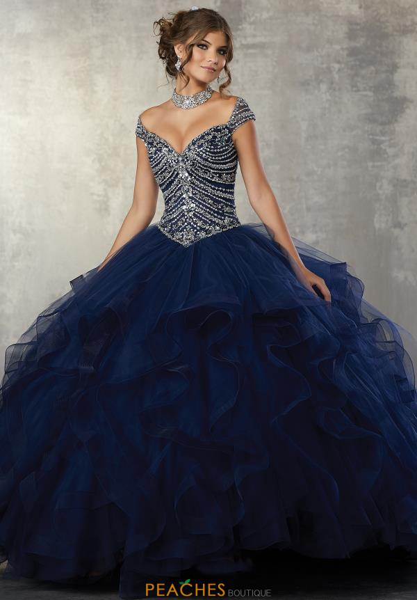 Vizcaya Quinceanera Cap Sleeved Beaded Dress 89162