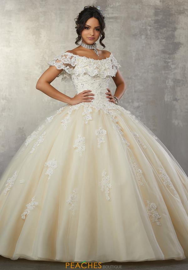Vizcaya Quinceanera Cap Sleeved Lace Dress 89168