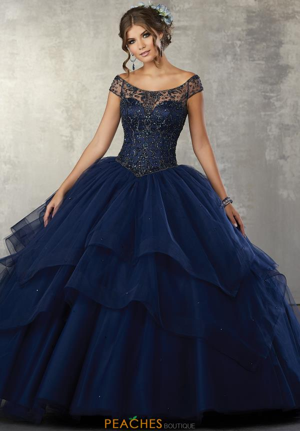 Vizcaya Quinceanera Cap Sleeved Beaded Gown 89172