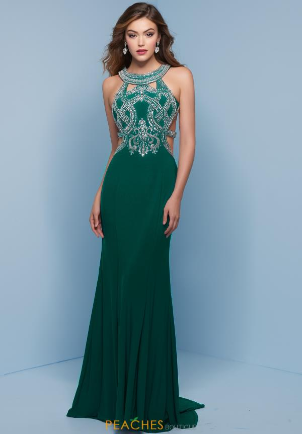Splash Fitted Long Dress J789