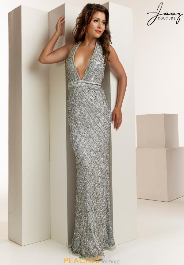 Jasz Couture V-Neck Beaded Dress 1405