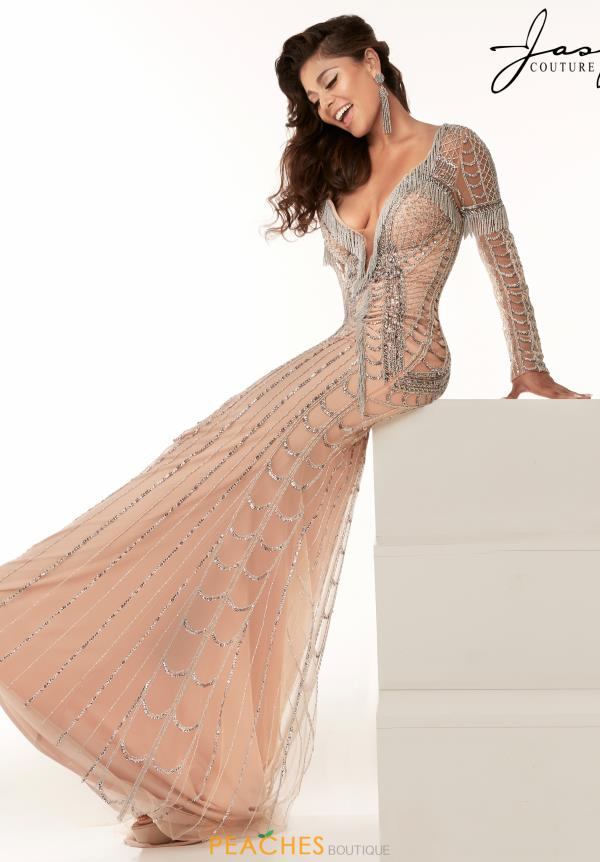Jasz Couture Long Sleeve Beaded Dress 6200
