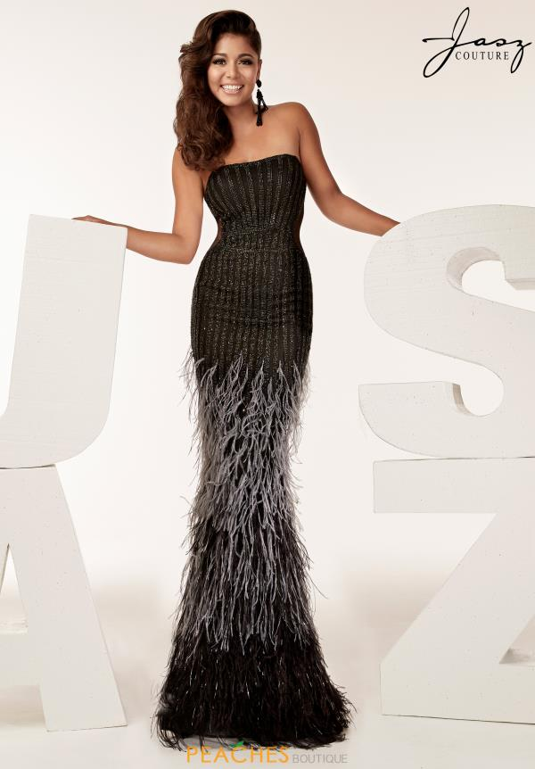 Jasz Couture Strapless Feather Dress 6201