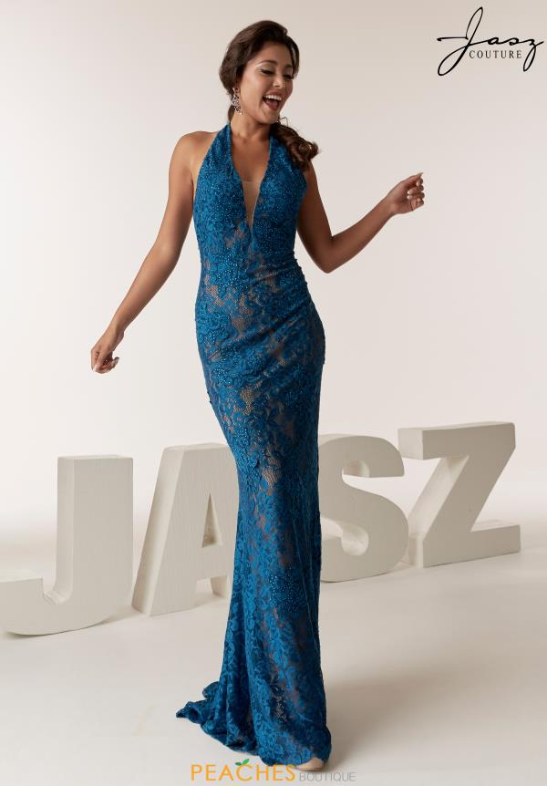 Jasz Couture V-Neck Beaded Dress 6285