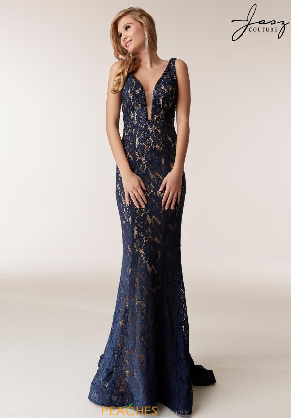 Jasz Couture V-Neck Beaded Dress 6287