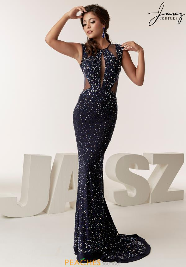 Jasz Couture Cap Sleeve Beaded Dress 6292